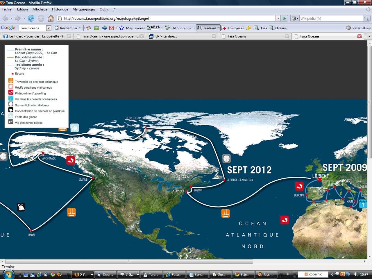 Au début de l'année 2012, le voilier se dirigera vers les Etats-Unis, remontera jusqu'en Alaska et regagnera l'océan Atlantique en se frayant un chemin dans les eaux froides du nord du Canada. C'est le fameux passage du nord-ouest, dont les glaces, présentes même en été, ont arrêté les marins durant trois siècles. Durant l'été 2007, le passage a été pour la première fois entièrement libre de glace, illustrant la réalité du réchauffement climatique.