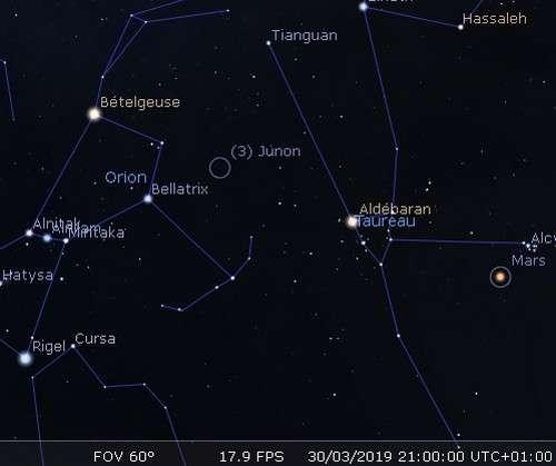 Bételgeuse, Aldébaran et Mars sont alignées dans le ciel