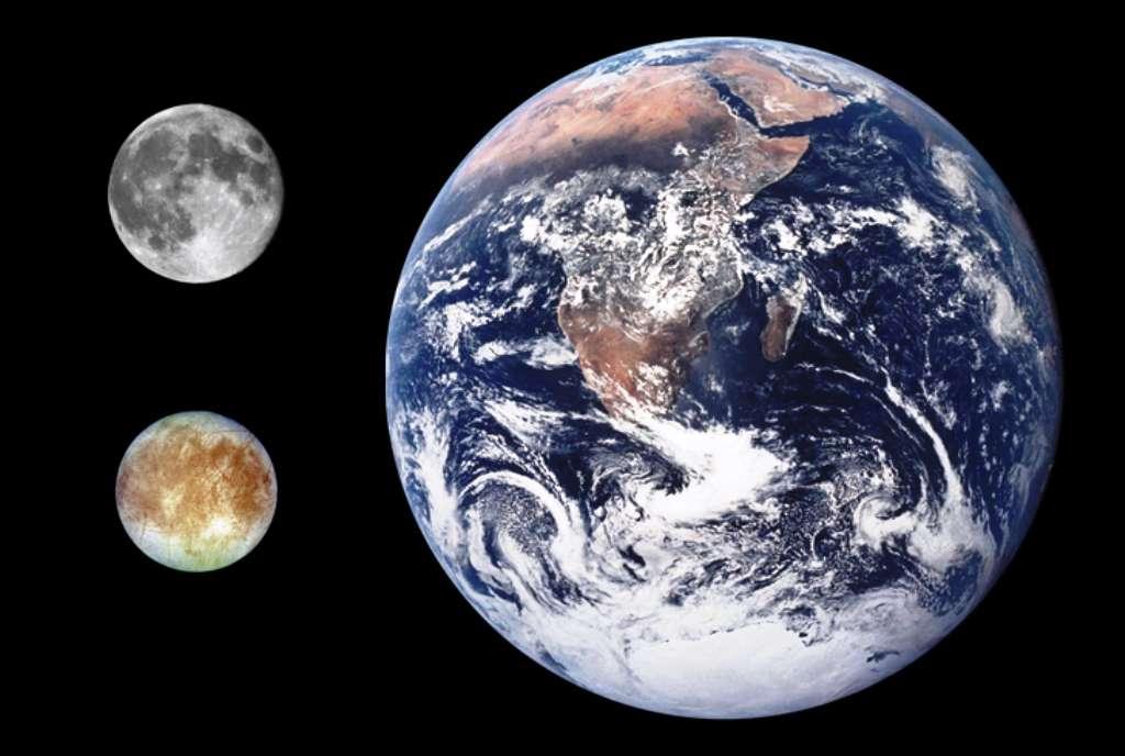 Une comparaison des tailles de la Lune, de la Terre et d'une lune de Jupiter, Europe. © Nasa-CWitte-Wikipédia