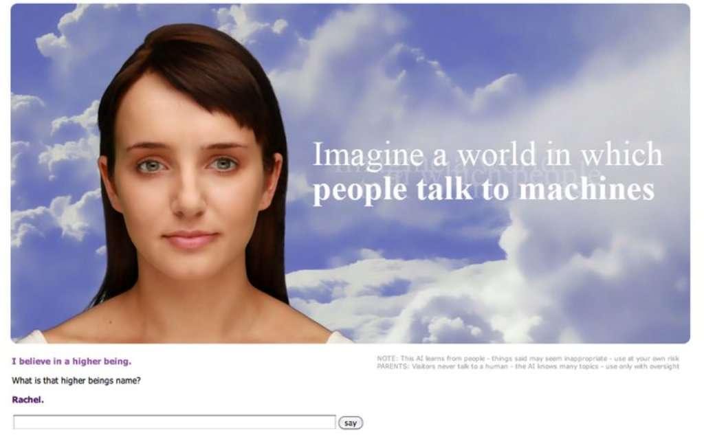 La page de l'avatar de Cleverbot, Evie (Electronic Virtual Interactive Entity). © 2011 Existor Ltd.
