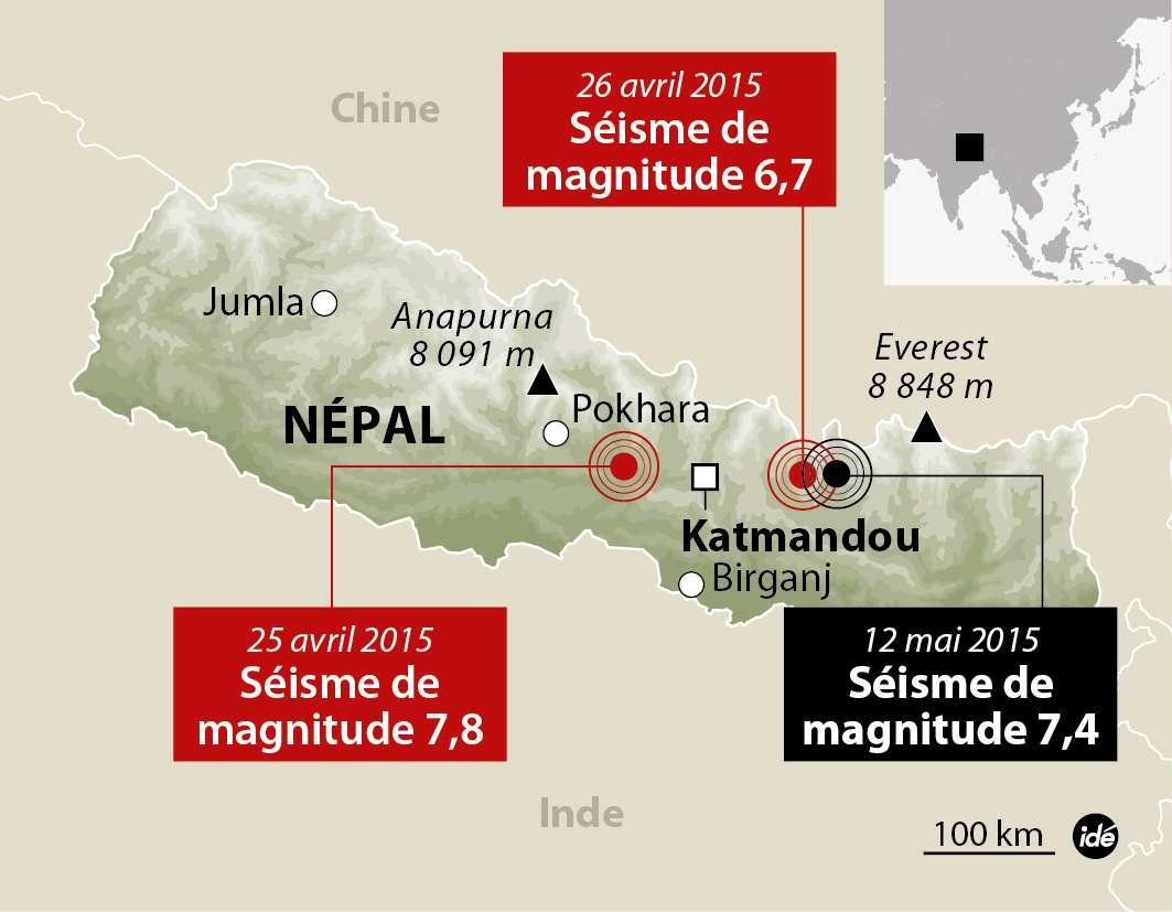Le nouveau séisme qui vient de toucher le Népal se situe dans la même zone géologique que ceux d'avril dernier, là où se heurtent les plaques indienne et eurasienne. © Idé