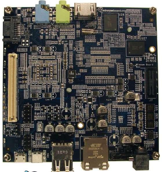 La carte mère miniature Minnowboard côté pile. On distingue l'entrée et la sortie audio, les connecteurs PCI Express et Sata 2, les ports USB, HDMI et Ethernet. © Intel, CircuitCo Electronics
