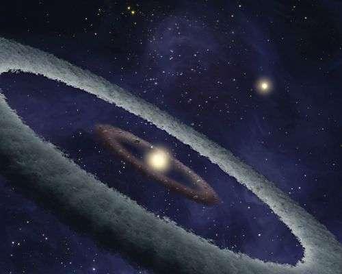 Vue d'artiste du disque de poussière entourant HD 113766. Crédit NASA/Spitzer/Caltech