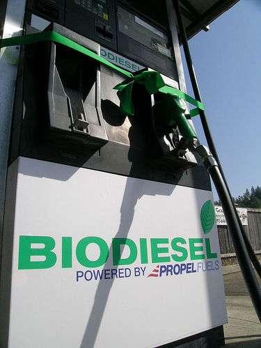 Cette pompe de biodiesel distribue un carburant alternatif à base d'EMVH, aussi appelé Diester en France. © rrelam, cc by nc 2.0