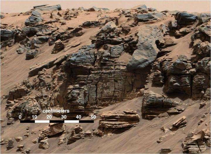 Des dépôts sédimentaires se sont formés dans le cratère Gale comme ceux photographiés à Hidden Valley par Curiosity. © Nasa, JPL, MSSS