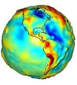 Carte de la gravitation terrestre au niveau du continent américain obtenue par GRACE. Les zones bleues correspondent aux régions de plus faible gravité. Crédit NASA.