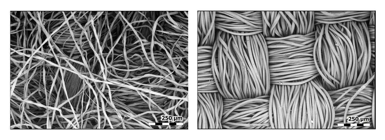 La fibre de coton (à gauche) absorbe l'humidité, ce qui accroît la taille des particules virales et les bloque plus efficacement. Le polyester (à droite) est hydrophobe et ne possède pas cette propriété. © E.P. Vicenzi, Smithsonian's Museum Conservation Institute et NistLes National Institutes of Health (NIH)
