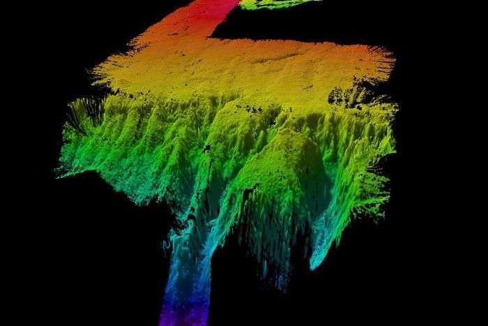 Une partie du microcontinent Batavia Knoll exploré par échosondage. © University of Tasmania, Australia