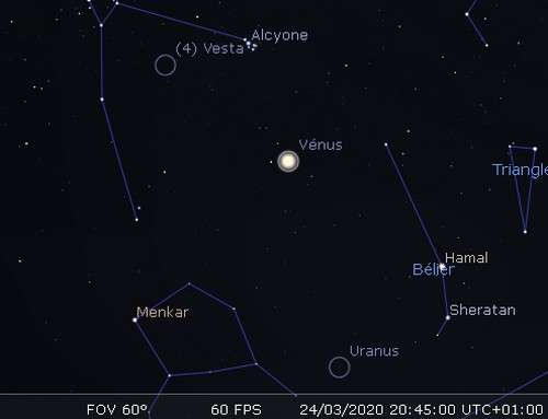 Plus grande élongation de Vénus à l'est du Soleil