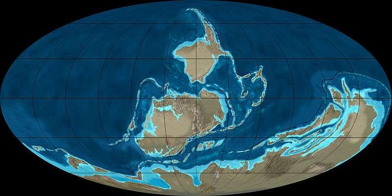 Au Dévonien, la paléogéographie de la Terre se composait de trois masses continentales principales. La plus importante, le Gondwana, se situait dans l'hémisphère sud. Plus vers le nord se trouvaient Sibéria et la Laurussia. © Ron Bmakey, NAU Geology, Wikimedia Commons, cc by sa 3.0