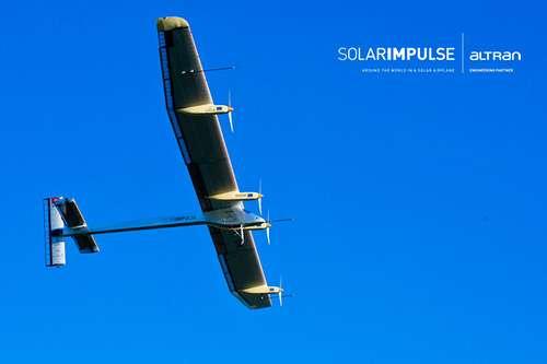 Le HB-SIA, l'avion solaire électrique, avec quatre moteurs de 10 chevaux et 11.628 cellules photovoltaïques, d'une envergure de 63,40 mètres. © Solar Impulse-Altran