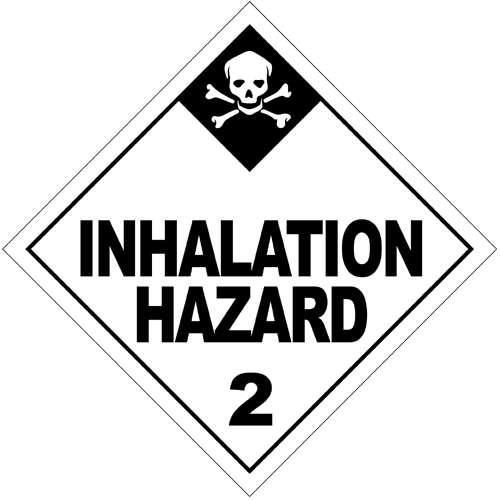 Logo indiquant des substances toxiques dont l'imprégnation se fait par la voie respiratoire. © Emergency Response Guidebook, Wikimédia domaine public