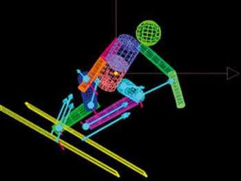 La modélisation des skieurs en mouvement permet de représenter les forces qui s'exercent sur eux.© LABM - IFR Marey