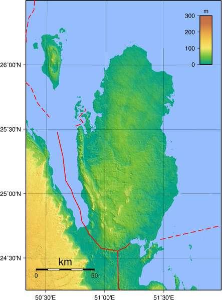 Carte topographique du Qatar. © Domaine public