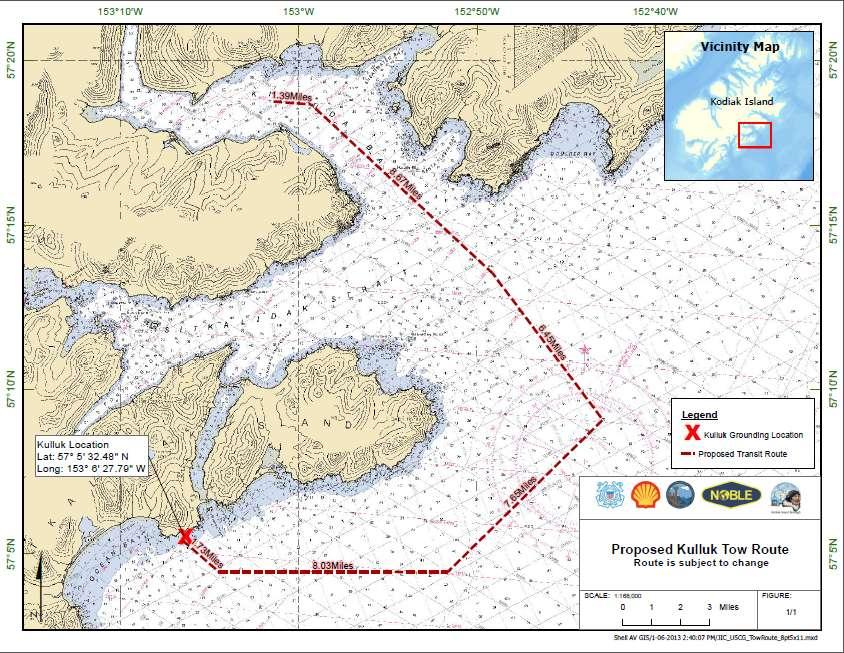 Le plan de remorquage de la plateforme Kulluk. Échouée sur l'île Sitkalidak (Kulluk Grounding Location sur la carte), la plateforme a été remorquée par le navire Aiviq jusqu'à la baie de Kiliuda, en Alaska. © US Coast Guard