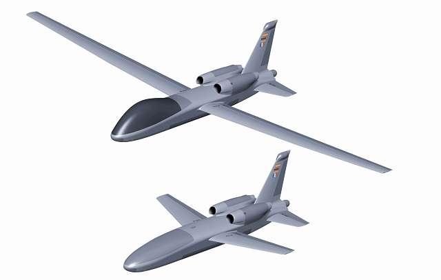 Deux UAV biréacteurs étudiés chez EADS. Avec ses grandes ailes de planeur, l'Advanced-UAV est prévu pour un long rayon d'action. © EADS