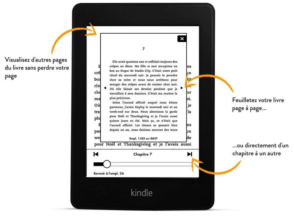 La fonction « saut de page » est une nouveauté. Elle permet de naviguer plus aisément dans un texte pour passer d'un chapitre à l'autre, consulter d'autres pages, le tout sans perdre la page sur laquelle on s'est arrêté. © Amazon