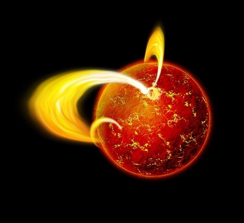 Une illustration d'artiste d'une étoile à neutrons, ici un magnétar. © Nasa/CXC/M.Weis