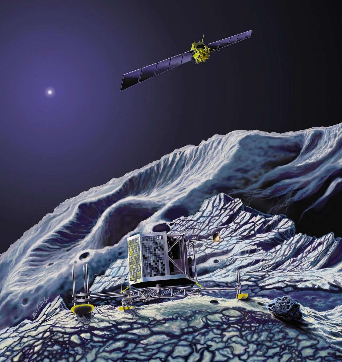 Pour larguer le module Philae sur la comète Churyumov-Gerasimenko en 2014, la sonde Rosetta devra éviter de percuter les plus grosses particules de poussières présentes dans la chevelure. Les chercheurs du MPI espèrent que leurs simulations informatiques y contribueront. Crédit Esa