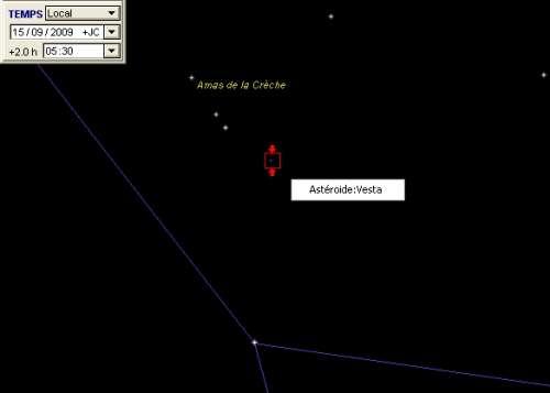 L'astéroïde Vesta frôle l'amas de la Crèche
