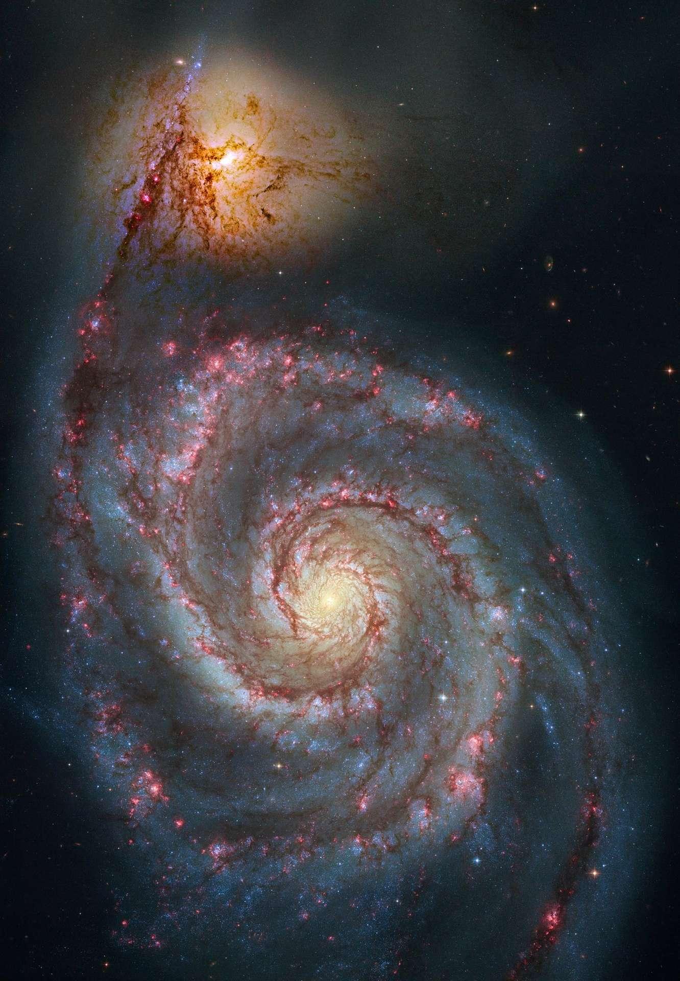 L'image proposée par l'APOD le 26 décembre 2009, l'emblématique galaxie du Tourbillon M 51 dans la constellation des Chiens de Chasse. Crédit Nasa/Esa/Hubble Heritage Team