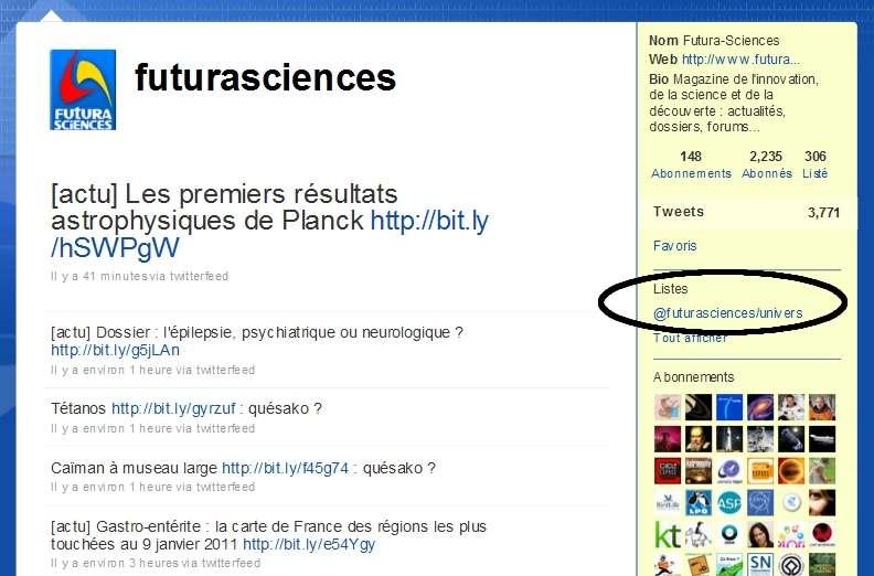 Suivez notre liste Twitter univers ! © Futura-Sciences