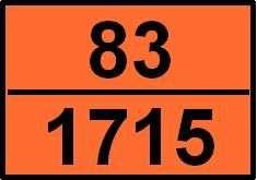 Panneau signalétique d'un véhicule de transport de matières dangereuses. Le chiffre du haut indique la nature du danger (ici corrosif puis inflammable), celui du bas le numéro d'identification de la matière. © DR