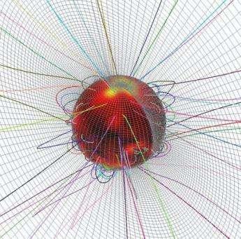 Les lignes de champ magnétique prévues par le modèle(Crédits : Z Mikic/Science Applications Intl)