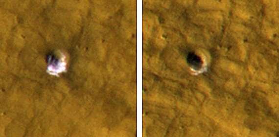 Ces images montrent un cratère d'impact de 6 mètres de diamètre avec un affleurement de glace. En quelque mois, de gauche à droite, la glace se sublime. Crédit : NASA/JPL-Caltech/University of Arizona