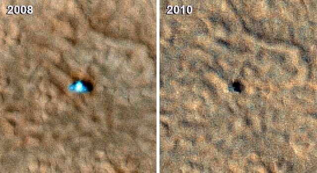 Les images de Phoenix prises par l'orbiteur MRO montrent la détérioration des panneaux solaires à la sortie de l'hiver martien. Crédit : Nasa/ JPL-Caltech/ University of Arizona