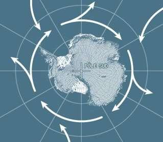 L'expédition Polar Pod devrait réaliser un tour complet de l'Antarctique, le long du courant circumpolaire austral, dont la boucle atteint 24.000 km. C'est un rouage clé pour la mécanique des océans mondiaux, opérant la jonction entre l'Atlantique, le Pacifique et l'océan Indien. Pourvoyeur d'eau froide qui s'écoule en profondeur et générateur d'air froid, il joue aussi un rôle important dans les interactions entre l'atmosphère et l'océan. © DR