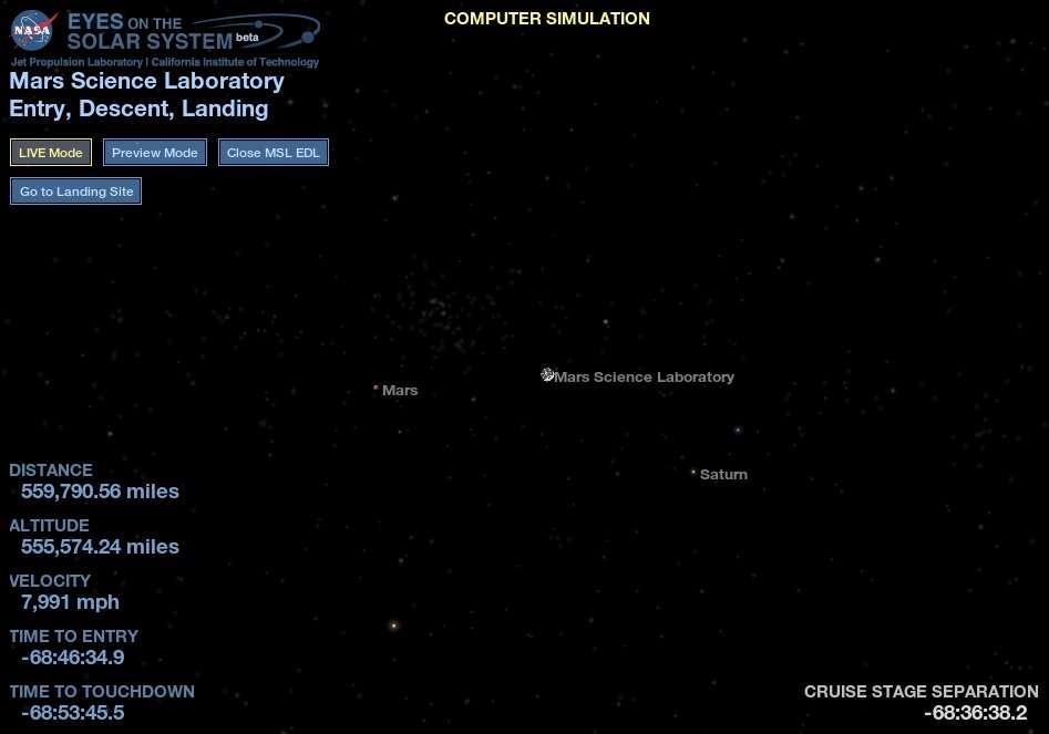 La position de Curiosity le vendredi 3 août au matin, visualisée par l'application en ligne Eyes on the solar system, proposée par la Nasa et montrant en temps réel les positions des planètes ainsi que des sondes spatiales. © Nasa