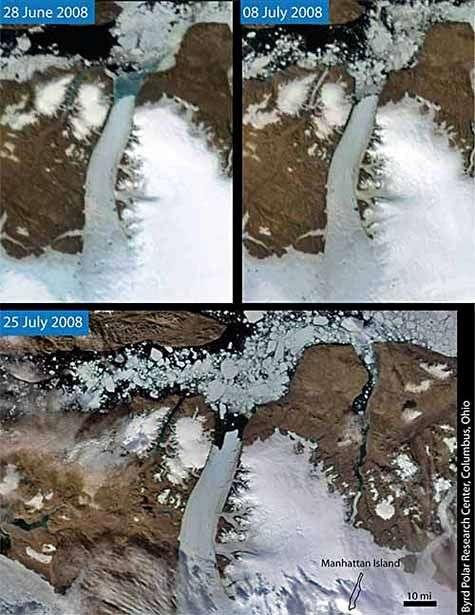 Le glacier Petermann vu par satellite, et les différentes étapes de sa dégradation. Crédit Nasa.
