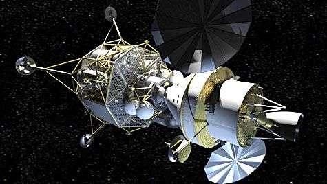 Vaisseau Orion et le module d'atterrissage lunaire Altaïr (vue d'artiste). Crédit Nasa