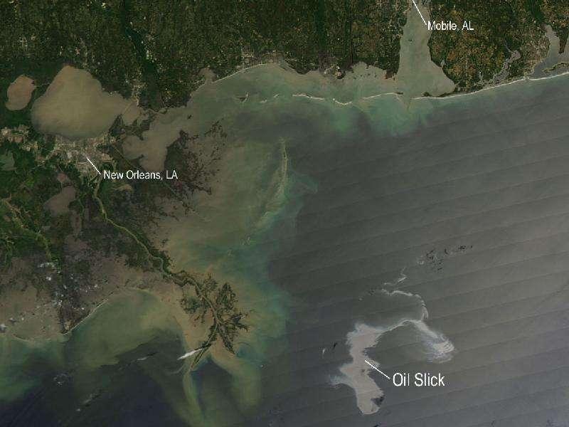 La nappe de pétrole (Oil Slick) du Golfe du Mexique, telle qu'elle était le 25 avril 2010, à une trentaine de kilomètres des côtes de la Louisiane, observée par le radiomètre Modis (Moderate Resolution Imaging Spectroradiometer) d'un satellite Aqua, de la Nasa. La marée noire risque de les atteindre dans la soirée du 30 avril. © Nasa / Modis Rapid Response Team