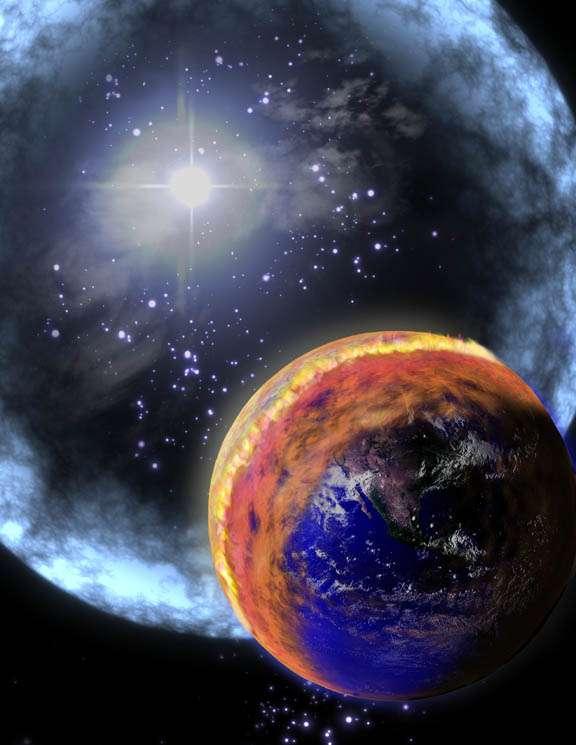 Une vue d'artiste de l'impact d'un sursaut gamma proche sur la Terre. Crédit : Nasa.