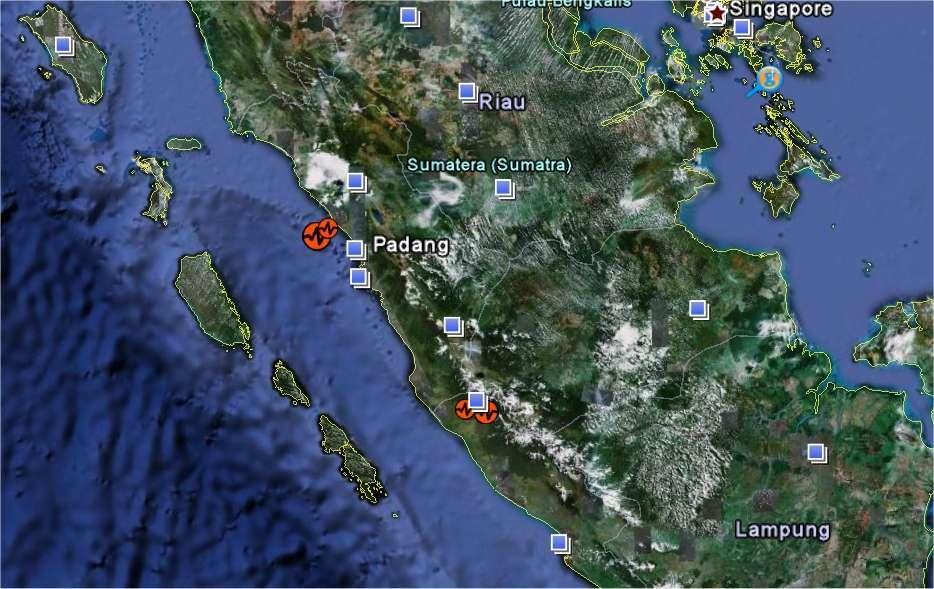 Les deux séismes, localisés sur Google Earth, sont survenus sur la partie ouest de l'île de Sumatra, du côté de l'océan Indien.