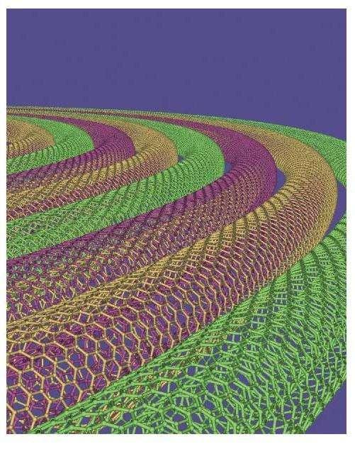 Une représentation de nanotubes à double paroi. Crédit : Mark Hersam, Northwestern University