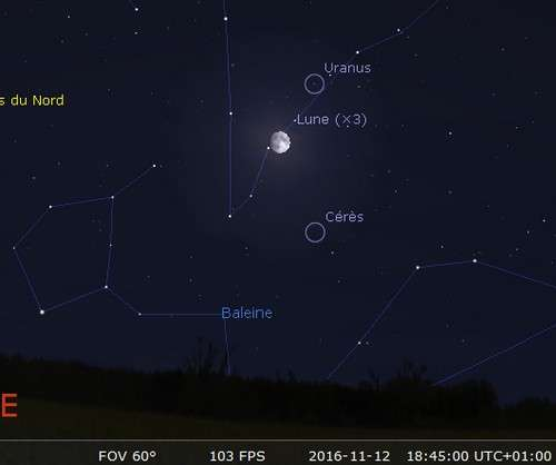 La Lune en rapprochement avec Uranus et Cérès