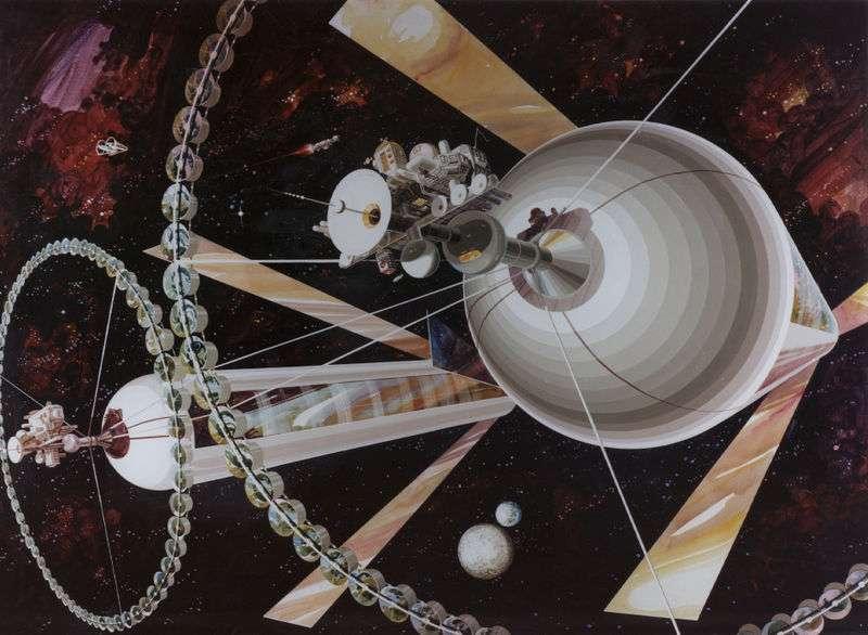 Les colonies spatiales cylindriques creuses de Gerard O'Neill. Les rêves de colonies spatiales, ayant pris naissance à Princeton sous l'impulsion de Gérard O'Neill au début des années 1970, deviendront-ils une réalité vers la fin du XXIe siècle comme il l'avait prévu ? © Nasa Ames Research Center