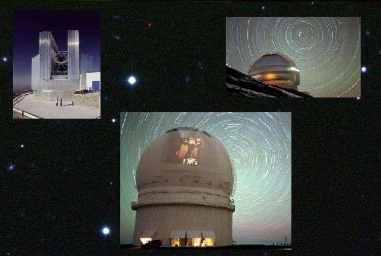 Les trois télescopes de la découverte : en bas le CFHT, en haut à gauche le NTT et en haut à droite Gemini Nord. © J.-C. Cuillandre, CFHT ; ESO ; Gemini Observatory/Aura