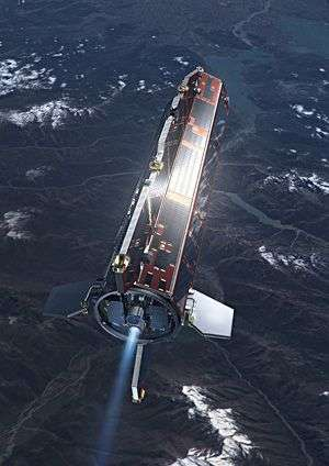 GOCE en orbite (image d'artiste). Crédit ESA.