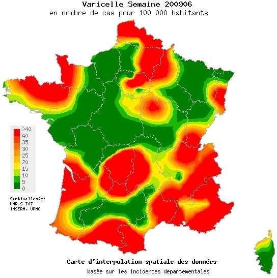 La carte de la varicelle pour la semaine du 2 au 8 février 2009. La couleur rouge indique une incidence supérieure à 40 cas pour 10.000 habitants © Réseau Sentinelles