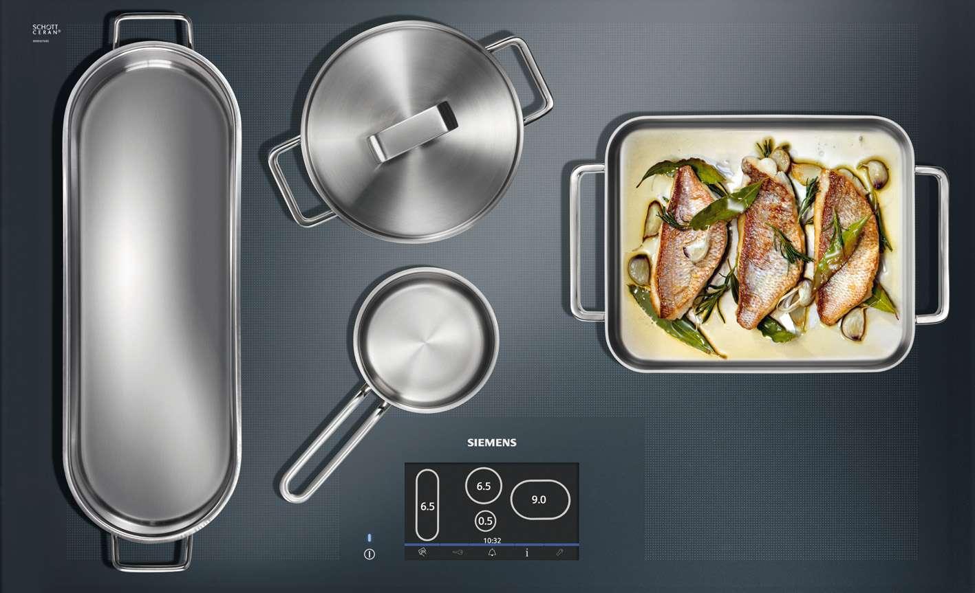 La plaque à induction de nouvelle génération de Siemens repère la casserole, que l'on peut donc poser à n'importe quel endroit de la plaque. L'ordinateur détecte même sa forme et permet de gérer la cuisson via un écran tactile. © Siemens