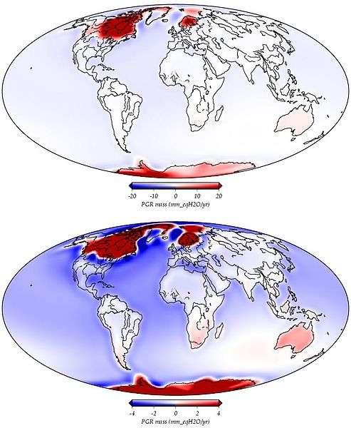 L'ajustement postglacial du Quaternaire : conséquences de la fonte des glaces. Les zones en rouge se soulèvent en raison de la fonte des calottes glaciaires. Les zones bleues s'affaissent en raison d'un remplissage des bassins océaniques consécutif à cette fonte. Le mouvement de la masse est exprimé en mm équivalent d'eau par an (1.000 kg/m3). © Paulson A, Wikipédia, Nasa