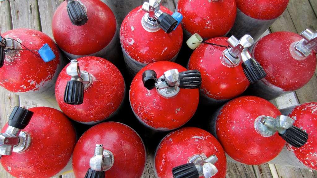 La loi de Gay-Lussac permet par exemple aux plongeurs de calculer la pression qu'il y aura dans leurs bouteilles en fonction de la température de l'eau. © WHardcastle, Flickr, cc by nc sa 2.0
