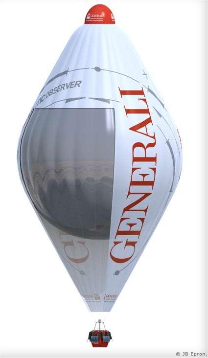 Le Generali Arctic Observer, une rozière de 28 mètres de hauteur embarquant (dans une enveloppe en polyester et nylon) 2.200 m3 d'hélium dans un ballon interne et 500 m3 d'air chaud dans le cône inférieur. Le chauffage est assuré par 360 kg de propane. L'autonomie est de 15 à 20 jours. © J. B. Epron