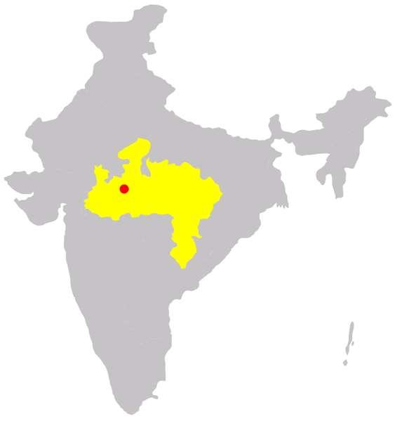 Localisation de la ville de Bhopal, capitale du Madhya Pradesh, l'un des États de l'Inde. © Immanuel Giel, Wikimedia Domaine public