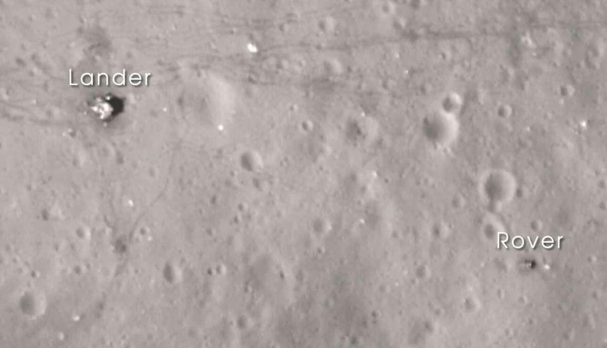 Quarante ans après, les traces de la dernière expédition humaine sur la Lune (Apollo 17) sont encore bien visibles sur cette image de LRO. © Nasa