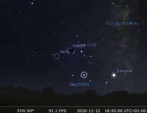 La Lune en rapprochement avec Vesta et Nunki et occulte Pluton